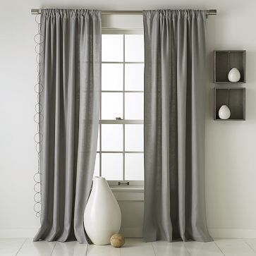West Elm Linen in Grey Curtains